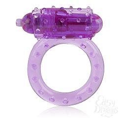 Фиолетовое эрекционное кольцо с вибрацией One Touch Nubby