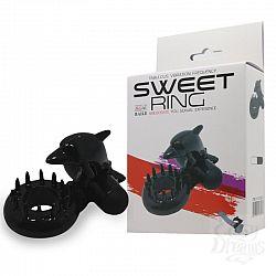 Чёрное эрекционное виброкольцо Sweet Ring с дельфинчиком