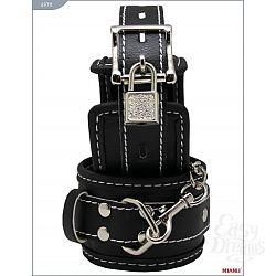 Чёрные наручники на мягкой подкладке с фиксацией