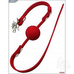 Красный силиконовый кляп с фиксацией