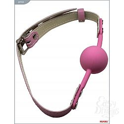 Розовый силиконовый кляп с фиксацией розовыми кожаными ремешками