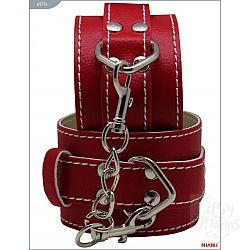 Красные кожаные наручники с фиксацией