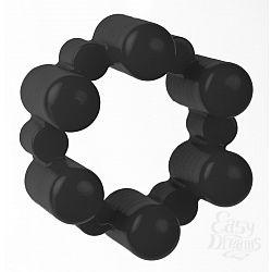 Чёрное эрекционное кольцо с вибрацией Sixshot