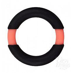 Чёрное эрекционное кольцо NEON STIMU RING 32MM BLACK/ORANGE
