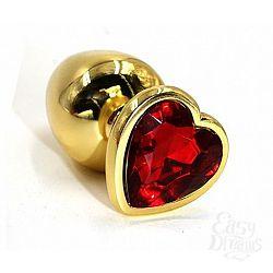 Золотистая алюминиевая анальная пробка с красным кристаллом-сердцем - 8,4 см.