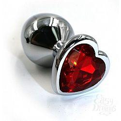 Серебристая алюминиевая анальная пробка с красным кристаллом-сердцем - 6 см.