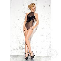 Полупрозрачное боди с вставкой из wet-look материала Emma