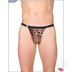 Леопардовые трусы-стринги с застежкой