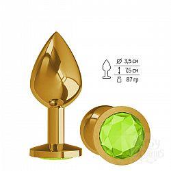 Золотистая средняя пробка с лаймовым кристаллом - 8,5 см.