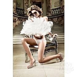 Baci Lingerie Black Label Back in Heaven G-Стринги белые из тюлевой ткани с узором в ромб и кружевной манжеткой; ML