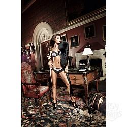 Baci Lingerie Black Label Agent Of Love Трусики черные  со светло-розовым, полосатым передом и аппликацией из рюшек, ML