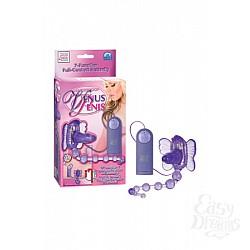 California Exotic Novelties Стимулятор клитора на ремнях Waterproof Venus Penis Stimulator с анальной цепочкой фиолетовый