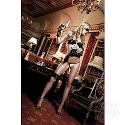 Светло-бежевый комплект-бикини  с черными кружевными элементами и косточками Agent Of Love