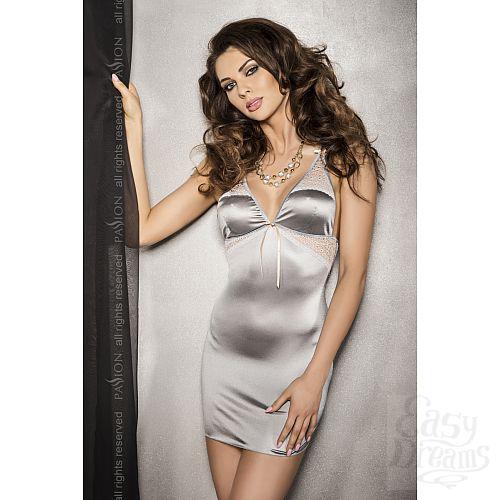 Фотография 1: White Label Серебристое платье с кружевными вставками и трусики HALLA S/M 13580PAS