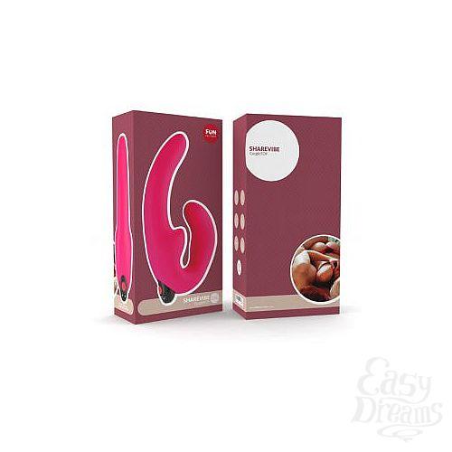 Фотография 4  Розовый страпон с вибрацией Sharevibe - 22 см.