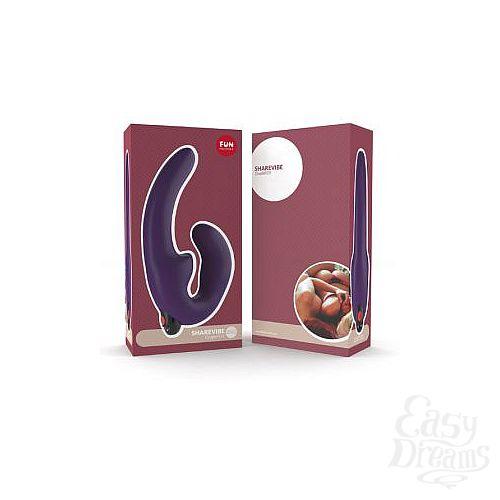 Фотография 4  Фиолетовый страпон с вибрацией Sharevibe - 22 см.