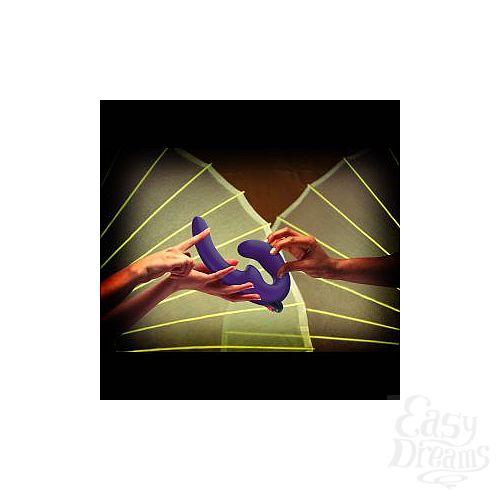 Фотография 5  Фиолетовый страпон с вибрацией Sharevibe - 22 см.
