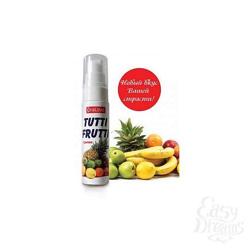 Фотография 1:  Гель-смазка Tutti-frutti со вкусом тропических фруктов - 30 гр.