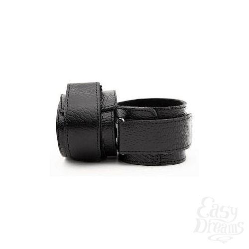 Фотография 2  Чёрные кожаные наручники