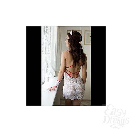 Фотография 2  Ажурный костюм медсестры: сорочка, трусики-стринг, перчатки и чепчик