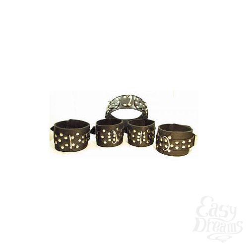 Фотография 1:  Комплект кожаных БДСМ-аксессуаров с клёпками