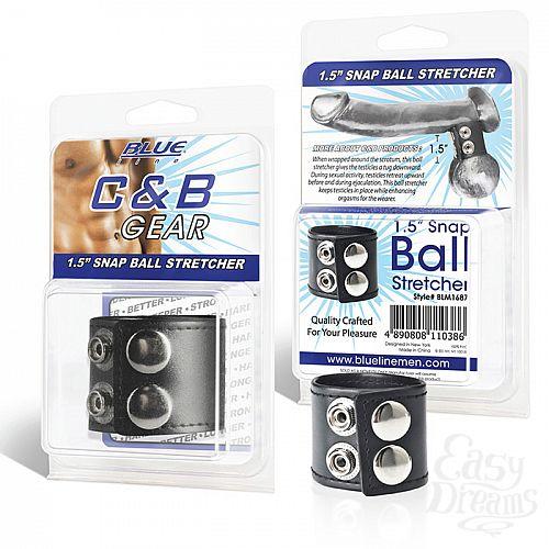 Фотография 1:  Хомут-утяжка для мошонки из искусственной кожи на клепках SNAP BALL STRETCHER