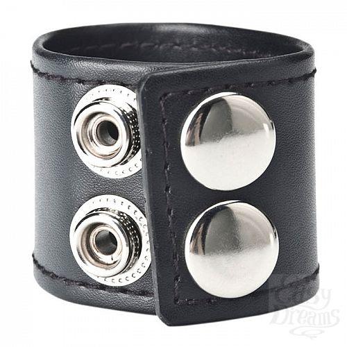 Фотография 2  Хомут-утяжка для мошонки из искусственной кожи на клепках SNAP BALL STRETCHER