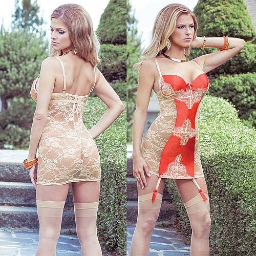 Фотография 1:  Сорочка с кружевной спинкой и контрастной вставкой SEXY TERRACOTTAS