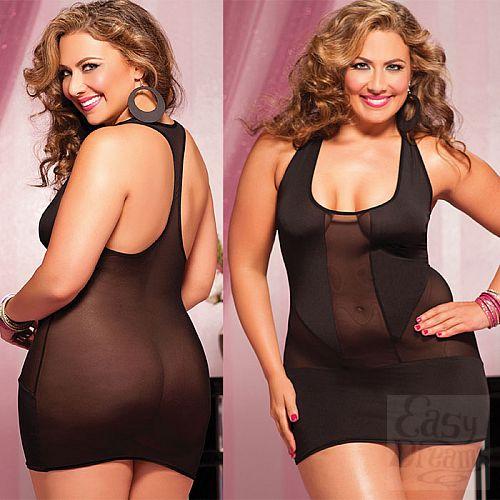 Фотография 4  Короткое полупрозрачное платье увеличенного Размера