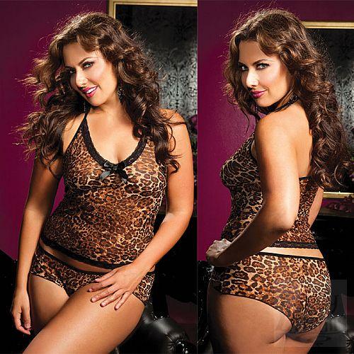 Фотография 1:  Леопардовые топ-маечка и шортики увеличенного Размера
