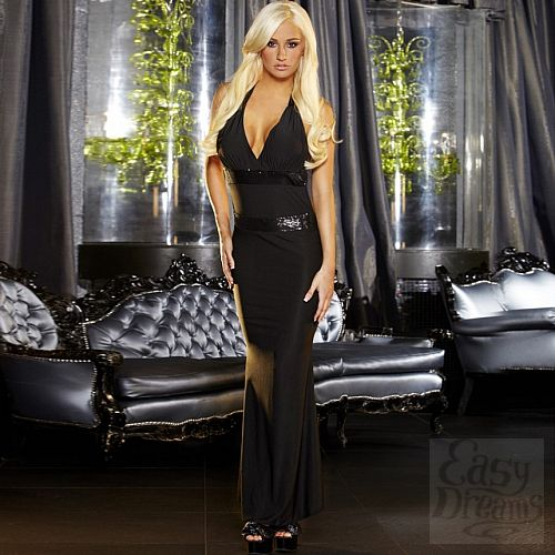 Фотография 1:  Черное вечернее платье в пол с открытой спиной