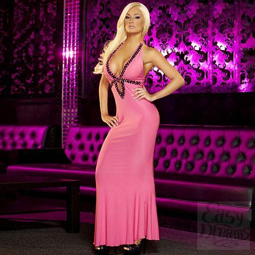 Фотография 1:  Вечернее розовое платье в пол от Hustler