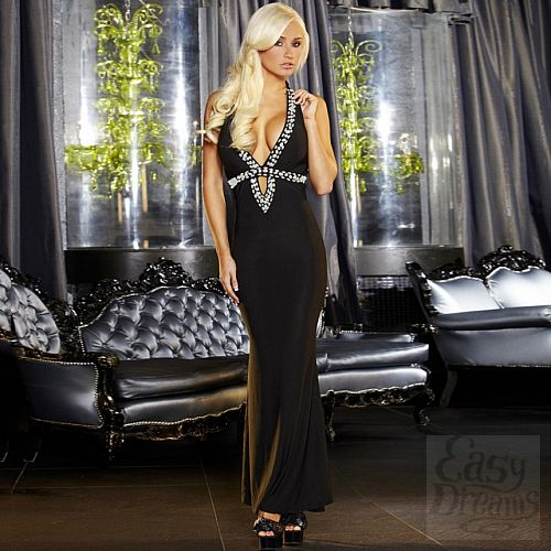 Фотография 1:  Вечернее черное платье в пол от Hustler