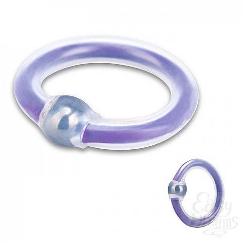 Фотография 1:  Эрекционное бело-фиолетовое кольцо на пенис с шариком