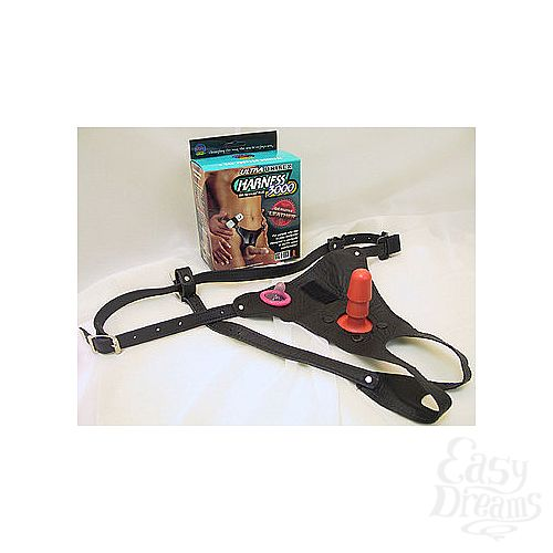 Фотография 1:  Кожаные трусики со штырьком для фиксации насадок-фаллопротезов Harness