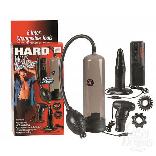 Фотография 1:  Набор для мужчин Hard Mans Tool Kit: вакуумная помпа, анальная пробка, эрекционные кольца и виброяичко