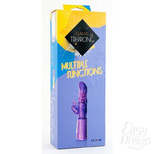Фотография 1:  Фиолетовый вибратор с клиторальным стимулятором - 17 см.