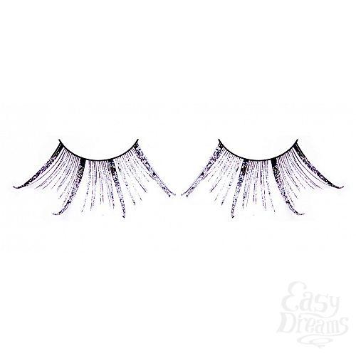 Фотография 1:  Чёрные-фиолетовые ресницы-перья