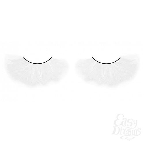 Фотография 1:  Белые пушистые ресницы-перья