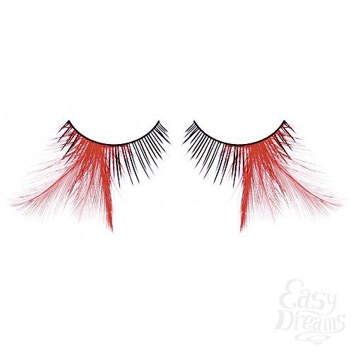 Фотография 1:  Ресницы чёрные-красные  перья