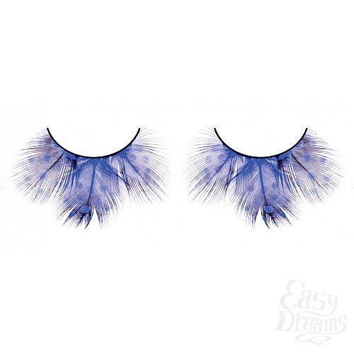 Фотография 1:  Голубые пушистые ресницы из перьев