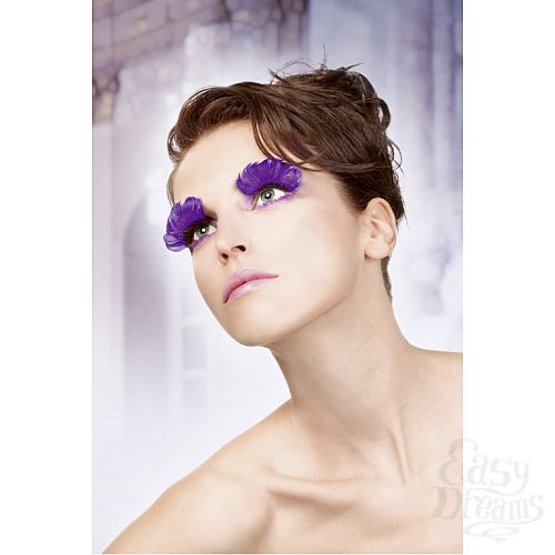 Фотография 2  Фиолетовые ресницы из перьев