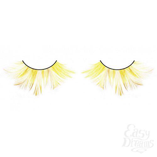 Фотография 1:  Ярко-желтые перьевые ресницы