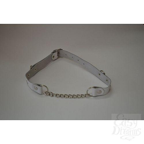 Фотография 1:  Белый кожаный кляп с цепью
