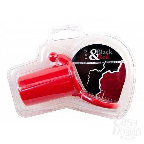 Фотография 1:  Красная силиконовая насадка на пенис