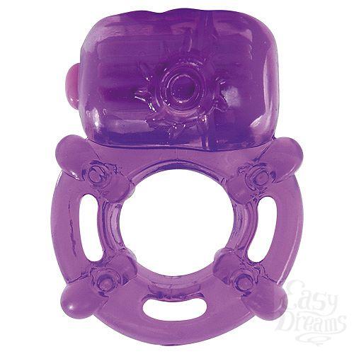 Фотография 1:  Фиолетовое эрекционное виброкольцо VIBRATING COCK RING KINKY