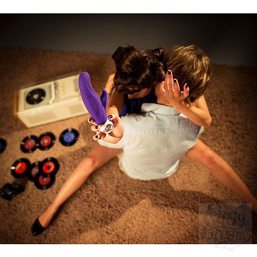 Фотография 3  Фиолетовый перезаряжаемый вибратор LADY Bi - 22,5 см.
