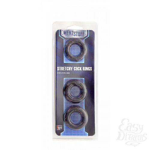 Фотография 2  Набор из 3 чёрных эрекционных колец MENZSTUFF STRETCHY COCK RINGS