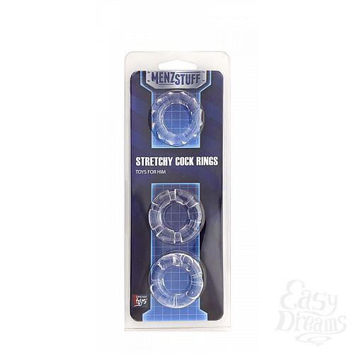 Фотография 2  Набор из 3 прозрачных эрекционных колец MENZSTUFF STRETCHY COCK RINGS