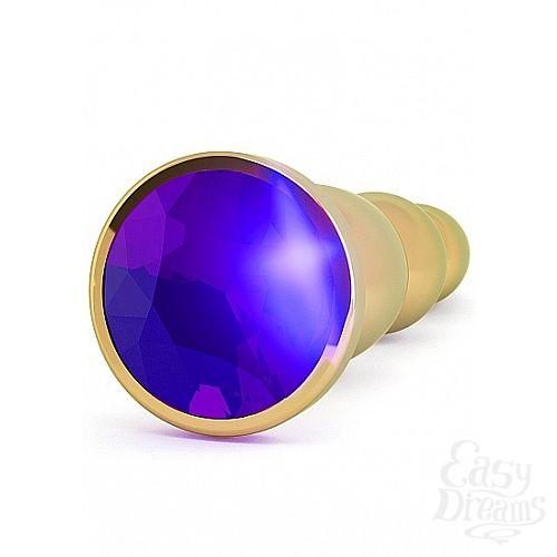 Фотография 2 Shotsmedia Анальная пробка 4,8 R3 RICH Gold/Purple Sapphire SH-RIC003GLD